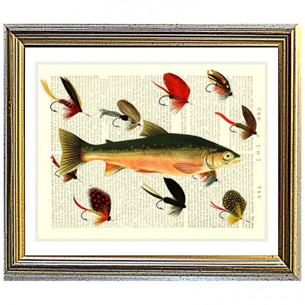 Art on antique book page. Salmon with Fishing Flies