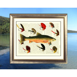 Salmon with Fishing Flies
