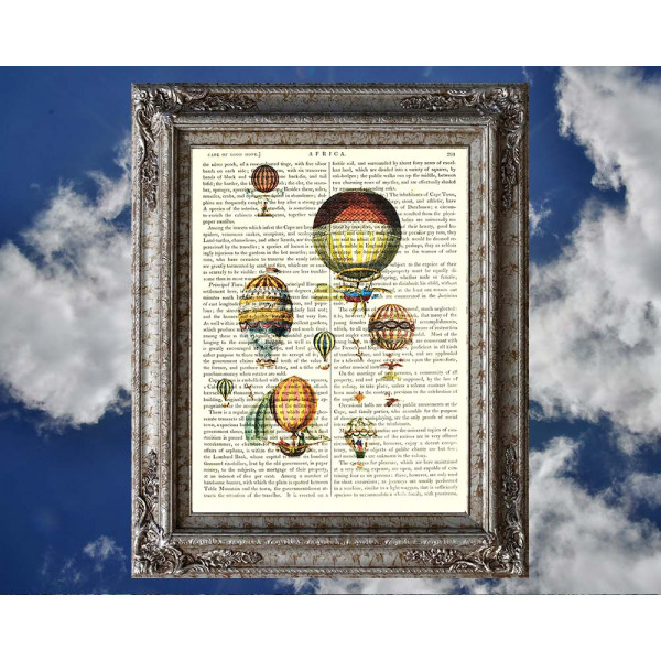 Art on antique book page. Vintage Hot Air Balloons