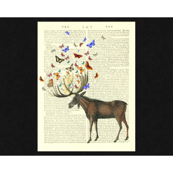 Art on antique book page. Moose and Butterflies - Forest Friends
