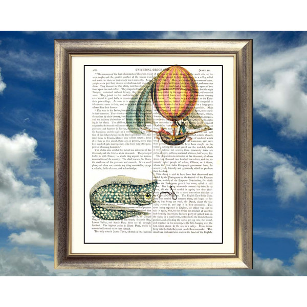Art on antique book page. Giant Oarfish and Balloon With Sails