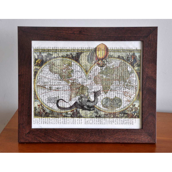 Art on antique book page. Frame. Vintage Style Dark Wood (only available in New Zealand)