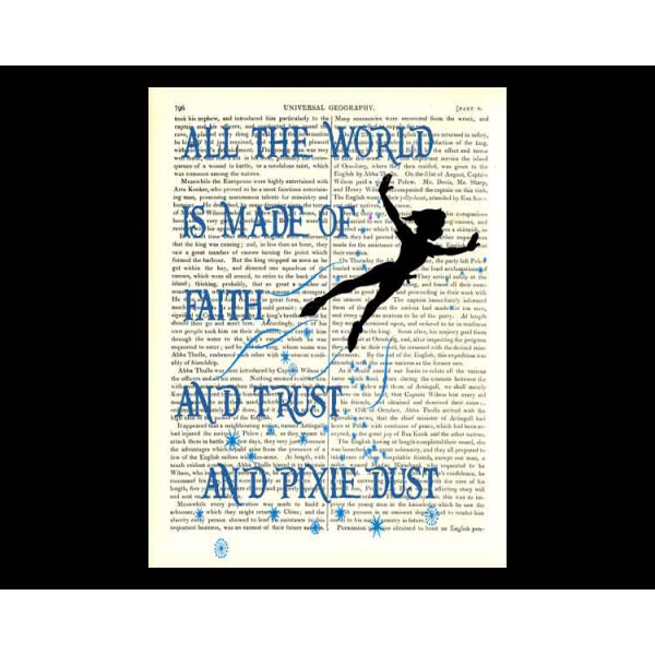 Art on antique book page. Peter Pan. All the World is Made of Faith, Trust and Pixie Dust