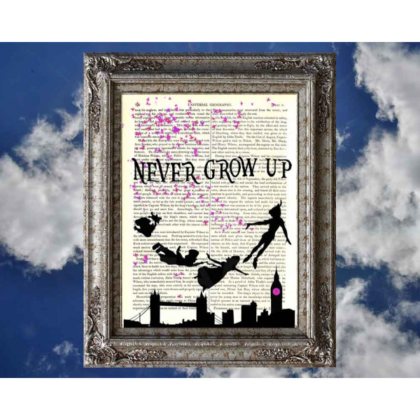 Art on antique book page. Peter Pan. Never Grow Up