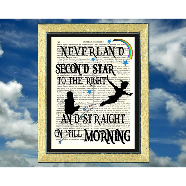Art on antique book page. Peter Pan Second Star To Right and Straight Till Morning