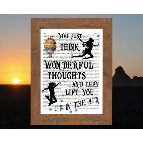 Art on antique book page. You Just Think Wonderful Thoughts by Peter Pan