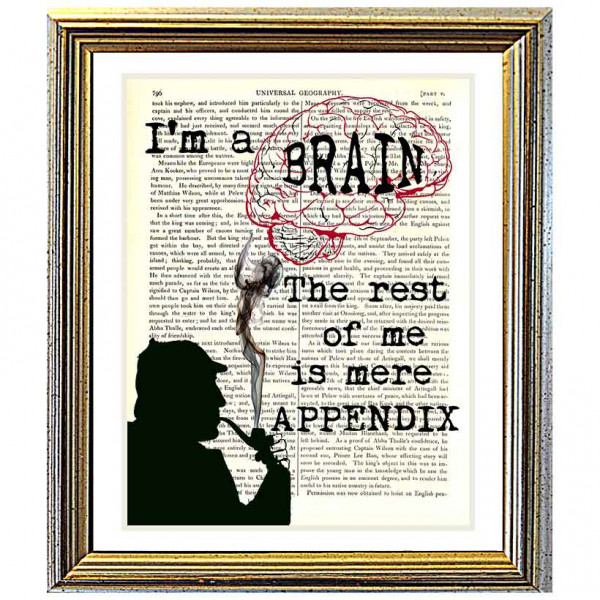 Art on antique book page. Sherlock Holmes: All Brain