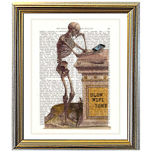 Art on antique book page. Skeleton and iPhone