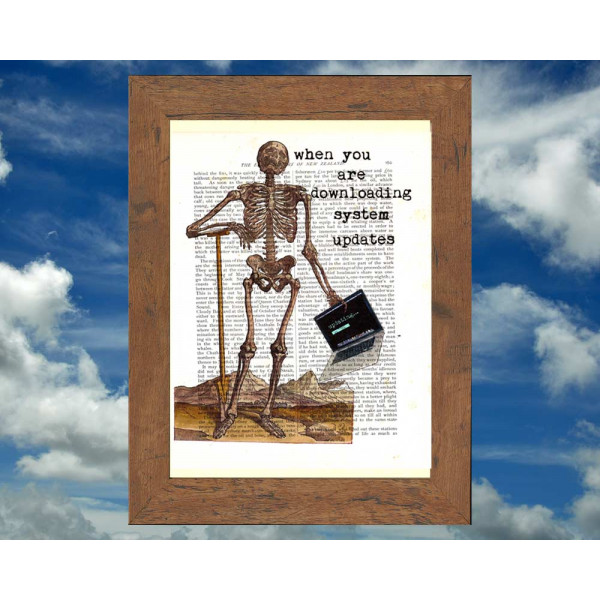 Art on antique book page. Skeleton and Laptop