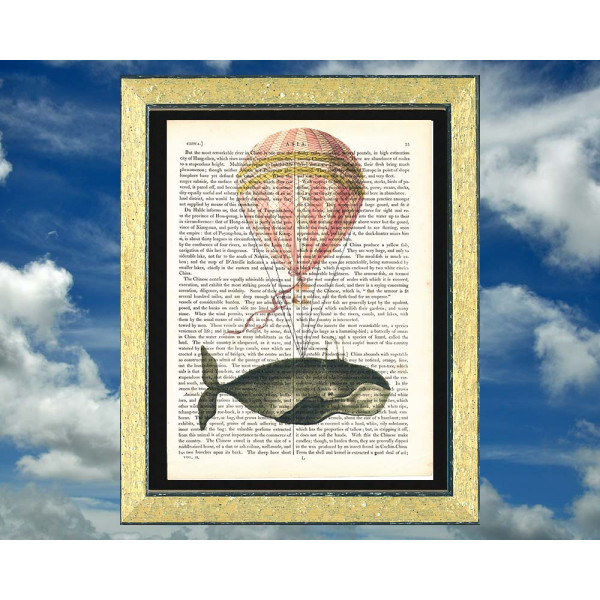 Art on antique book page. Whale and Hot Air Balloon